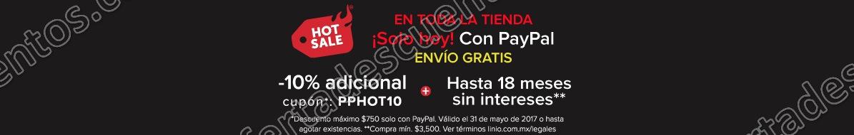 Hot Sale Linio 2017: Cupón 10% descuento adicional con PayPal 31 de Mayo