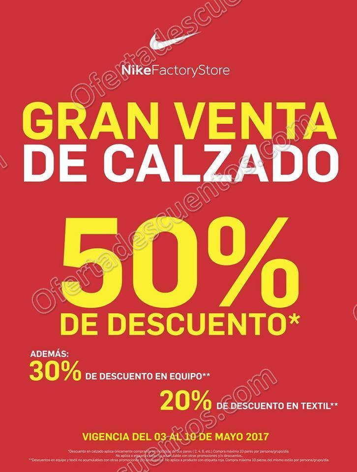 Nike Factory: Gran Venta de Calzado con 50% de descuento, 30% en equipo y más al 10 de Mayo