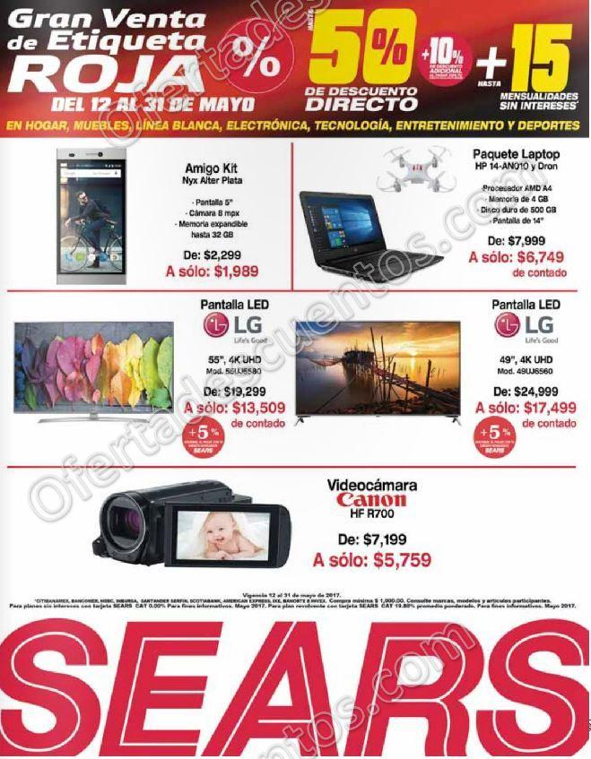 Sears: Gran Venta de Etiqueta Roja Hasta 50% de descuento del 12 al 31 de Mayo 2017