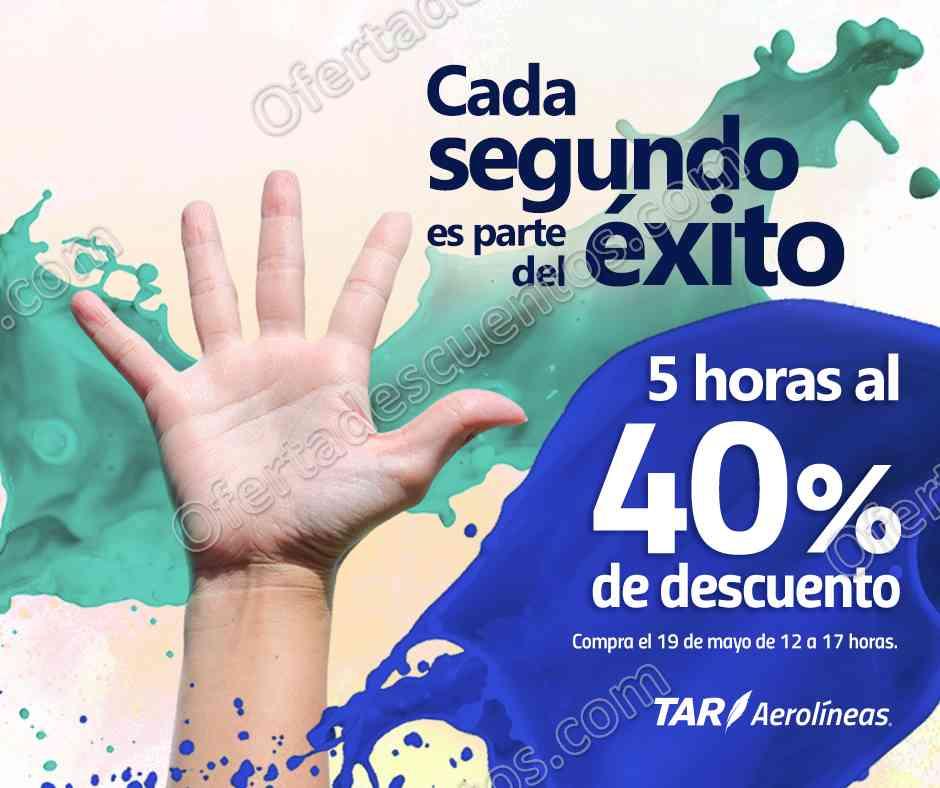 TAR Aerolíneas: 40% de descuento en vuelos de 11:00 am a 4:00 pm