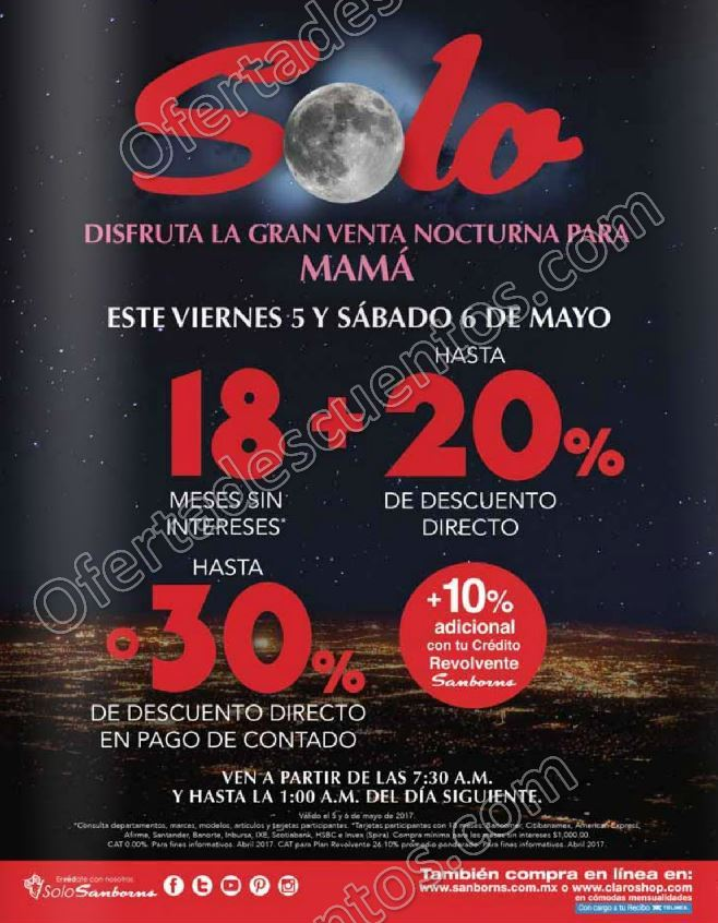 Venta Nocturna Sanborns 5 y 6 de Mayo 2017