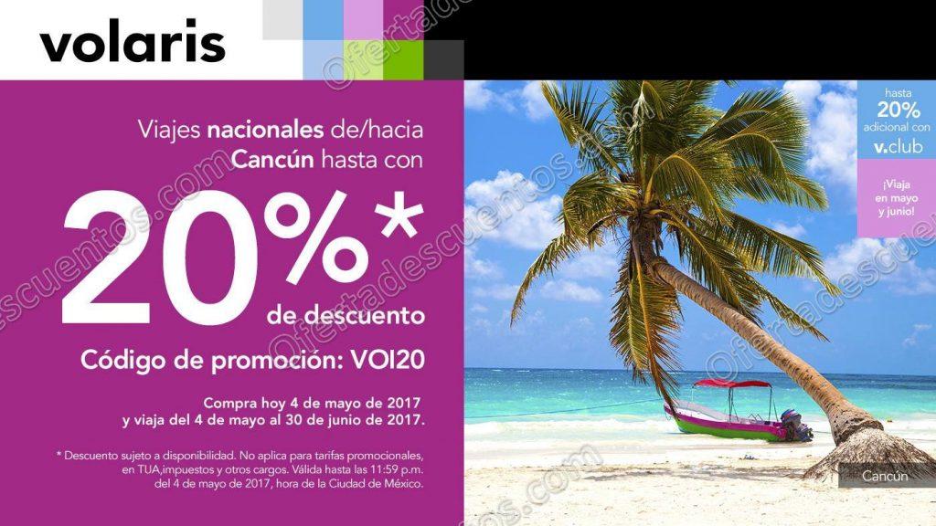 Volaris: 20% de descuento en viajes nacionales de/hacia Cancún hoy 4 de Mayo
