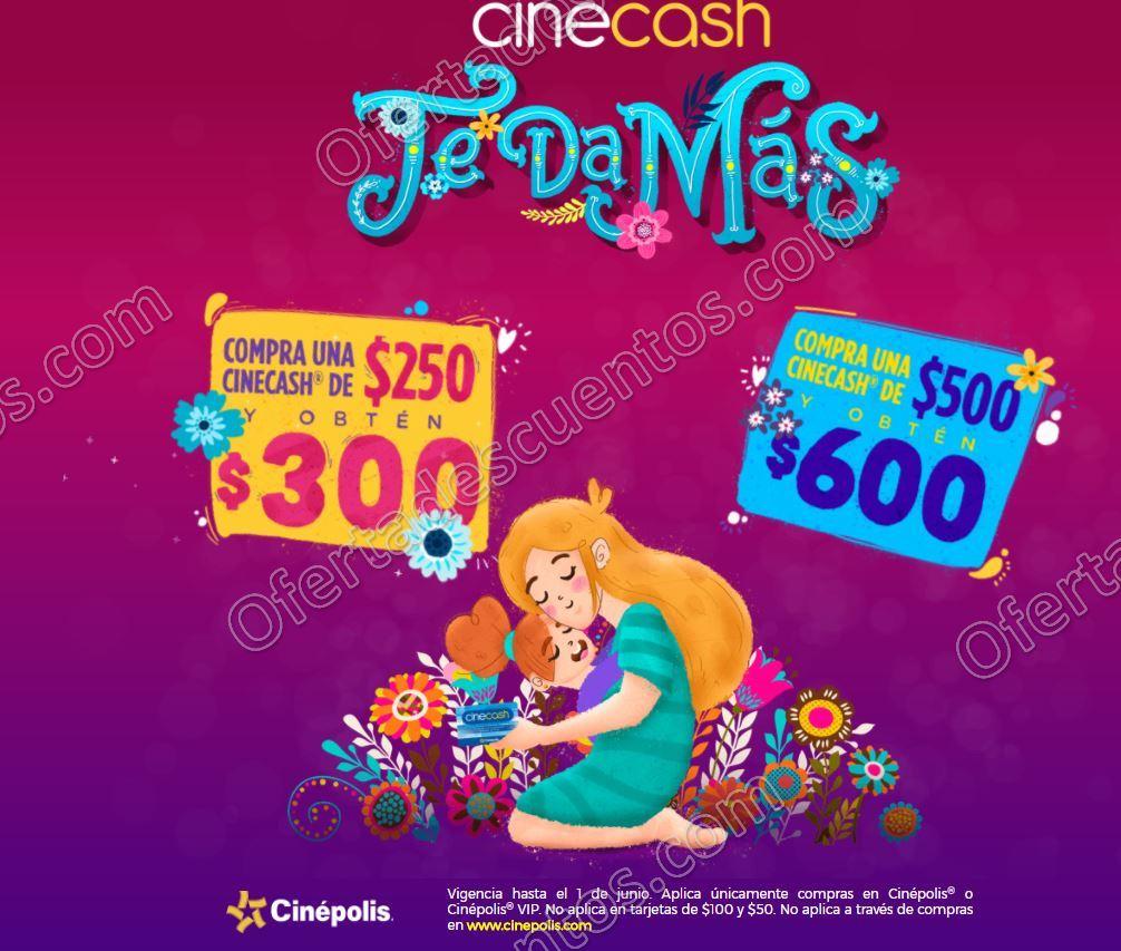 Cinépolis: Compra Cinecash de $250 y obtén $300 compra de $500 obtén $600