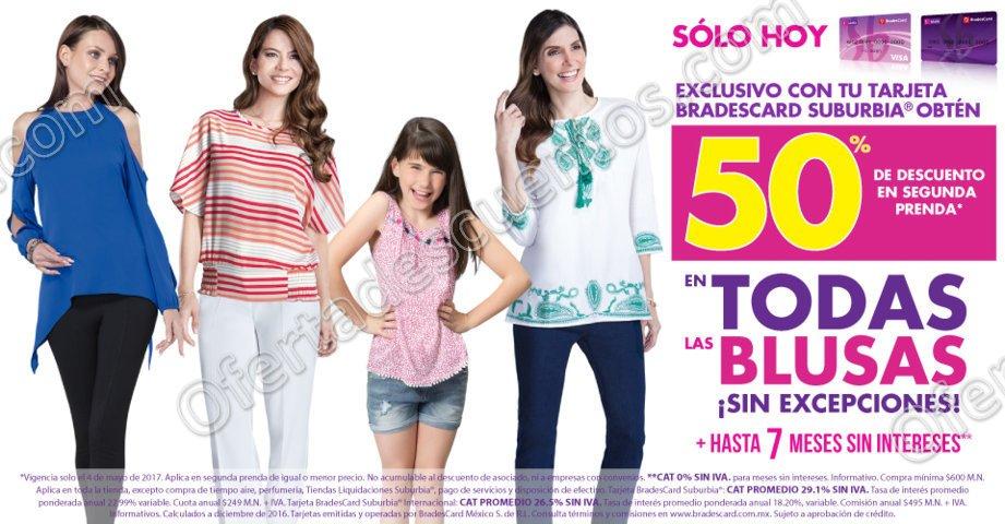 Suburbia: 50% de descuento en todas las Blusas en segunda compra sólo hoy 4 de Mayo