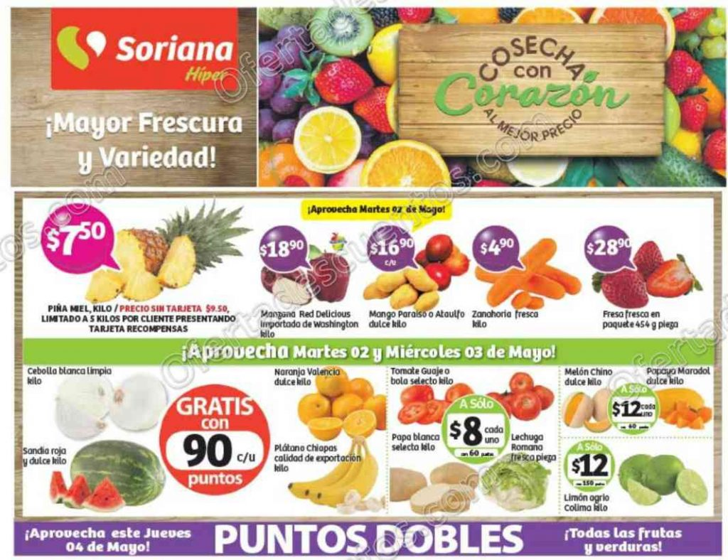 Martes y Miércoles de Frutas y Verduras Soriana 2 y 3 de Mayo 2017