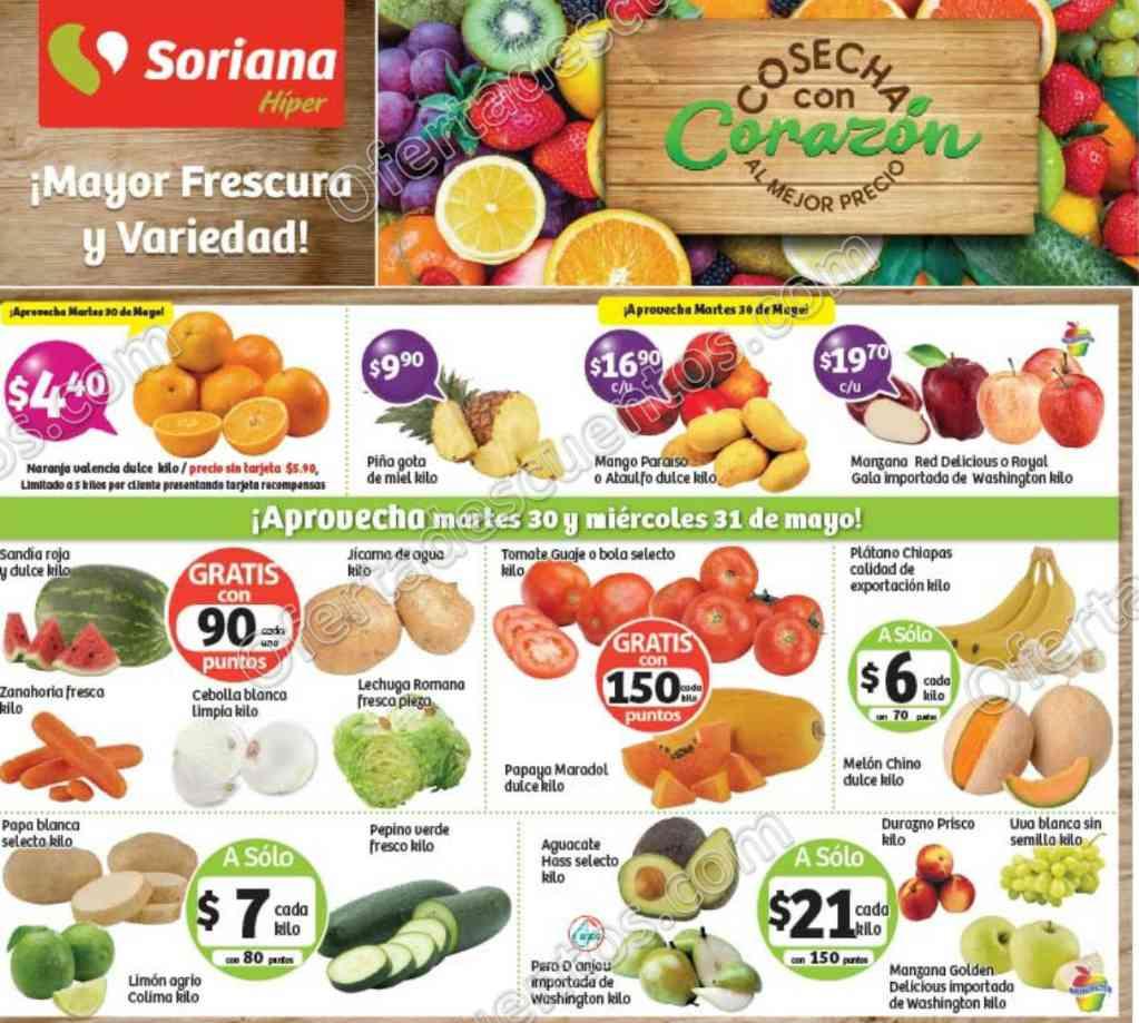 Ofertas Frutas y Verduras Soriana 30 y 31 de Mayo de 2017