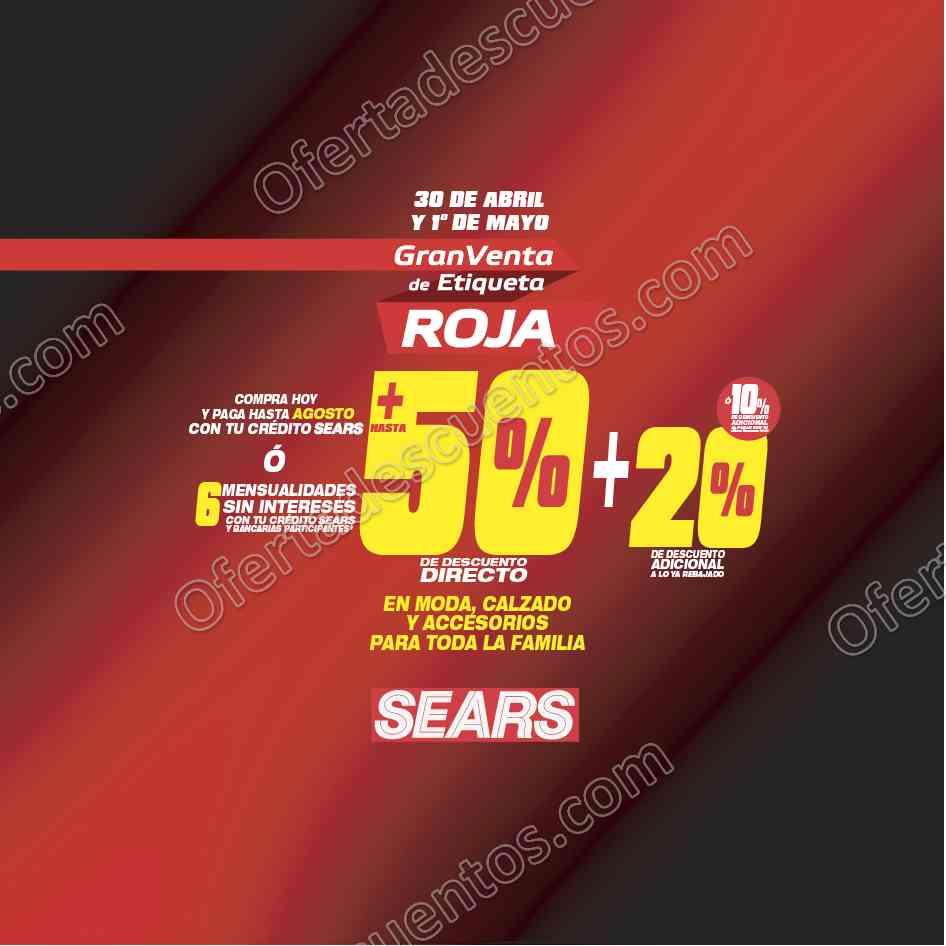 Sears: Gran Venta de Etiqueta Roja 30 de Abril y 1 de Mayo 2017