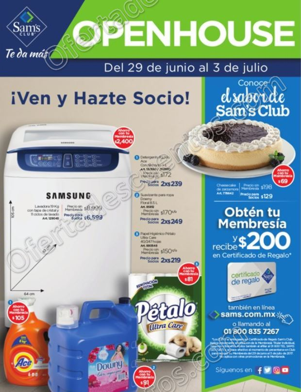 Open House Sam's Club: Folleto de Promociones del 29 de Junio al 3 de Julio 2017