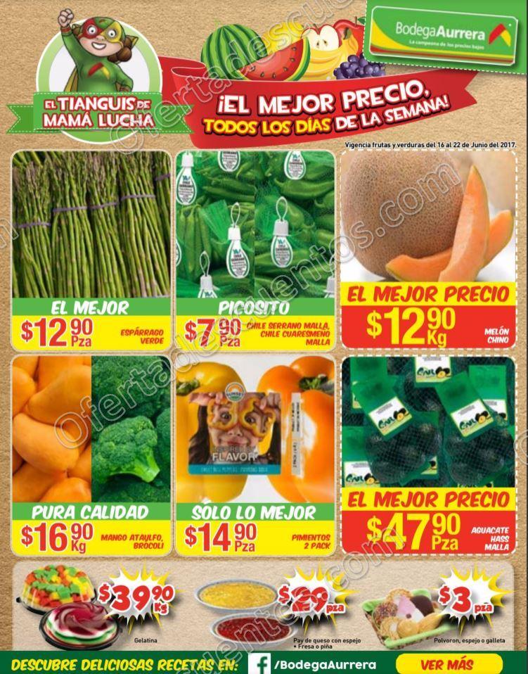 Bodega Aurrerá: Ofertas Frutas y Verduras Tiánguis de Mamá Lucha del 16 al 22 de Junio