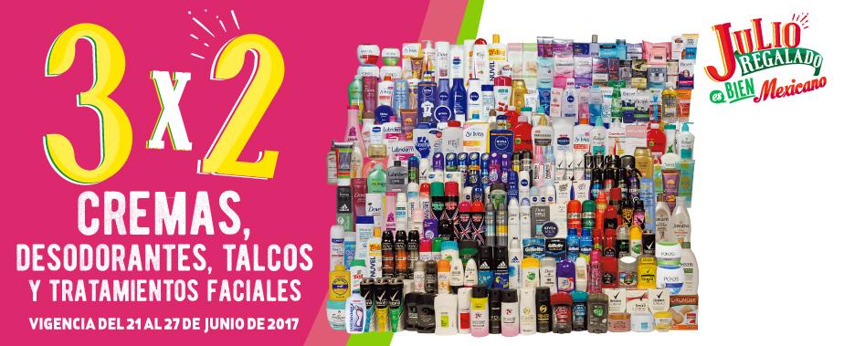 Julio Regalado 2017: 3×2 en Cremas, Desodorantes, Talcos y más del 21 al 27 de Junio