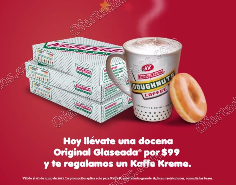 Krispy Kreme: Promoción Día de la Dona Docena Original Glaseada a $99 más Kaffe Gratis 2 de junio