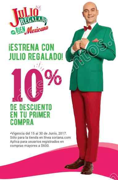 Soriana: Promoción Julio Regalado 2017 10% de descuento en Tienda en Línea