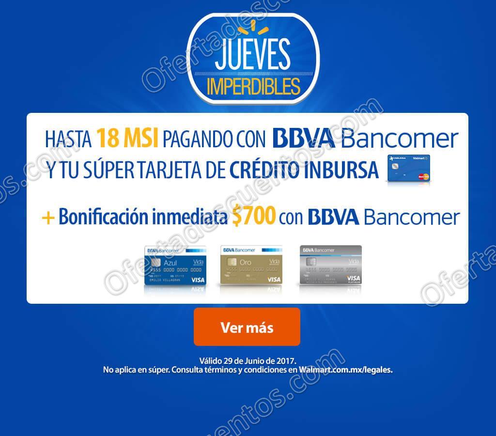 Walmart: Jueves Imperdible $700 de Bonificación con Bancomer