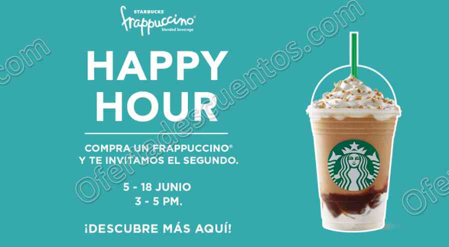 Starbucks: Happy Hour Frapuccinos al 2×1 de 3:00 a 5:00 pm del 5 al 18 de Junio