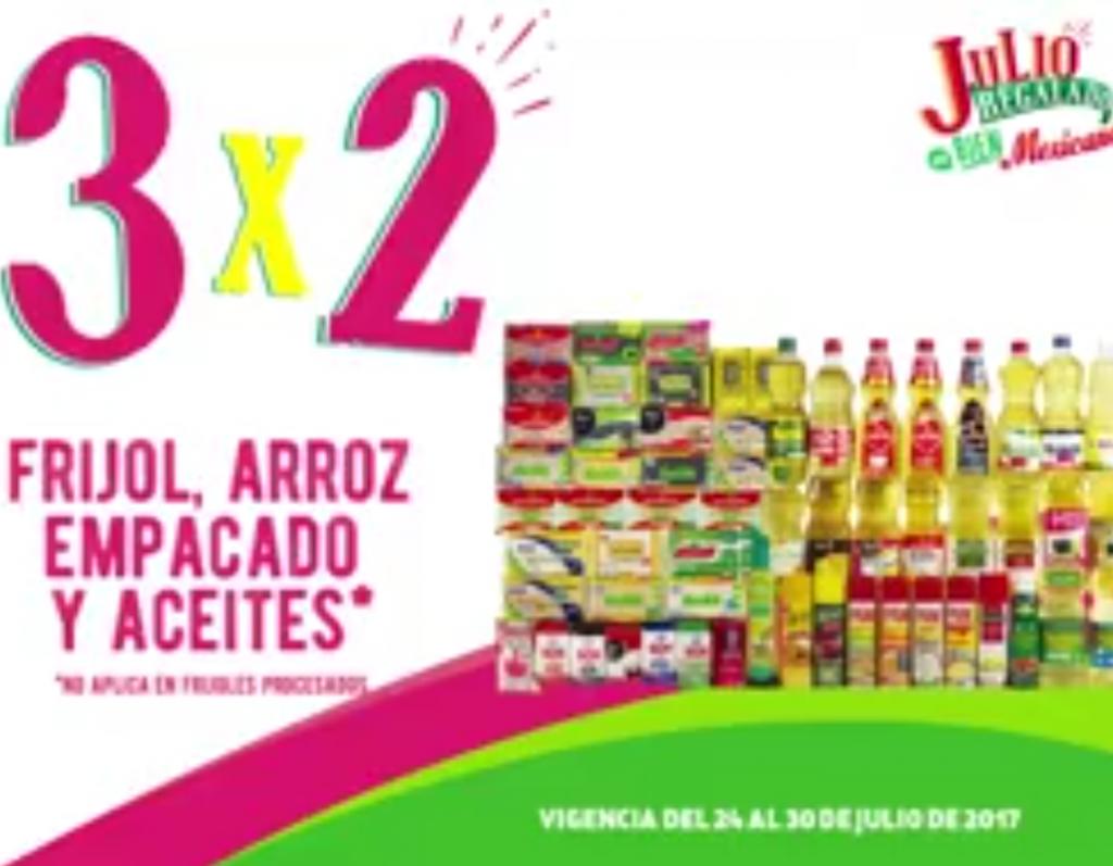 Julio Regalado 2017: 3×2 en frijol, arroz empacado y aceites del 24 al 30 de Julio 2017