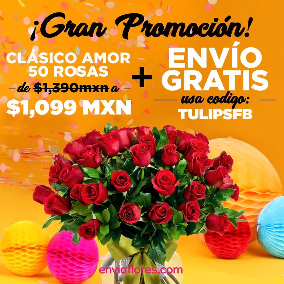 EnvíaFlores: Promoción de 10 Aniversario Bouquet de 50 Rosas más Envío Gratis sólo 14 de Julio