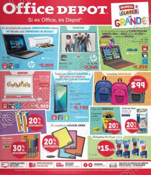 Office Depot: Folleto de promociones del 1 al 31 de Julio 2017