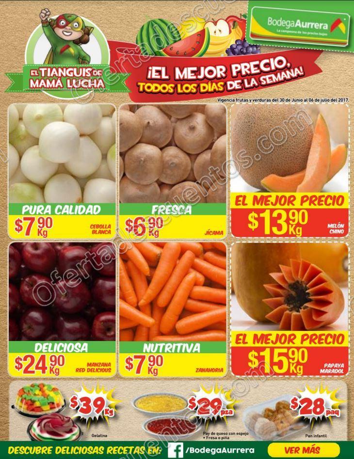 Bodega Aurrerá: Ofertas Frutas y Verduras Tiánguis de Mamá Lucha del 30 de Junio al 6 de Julio 2017