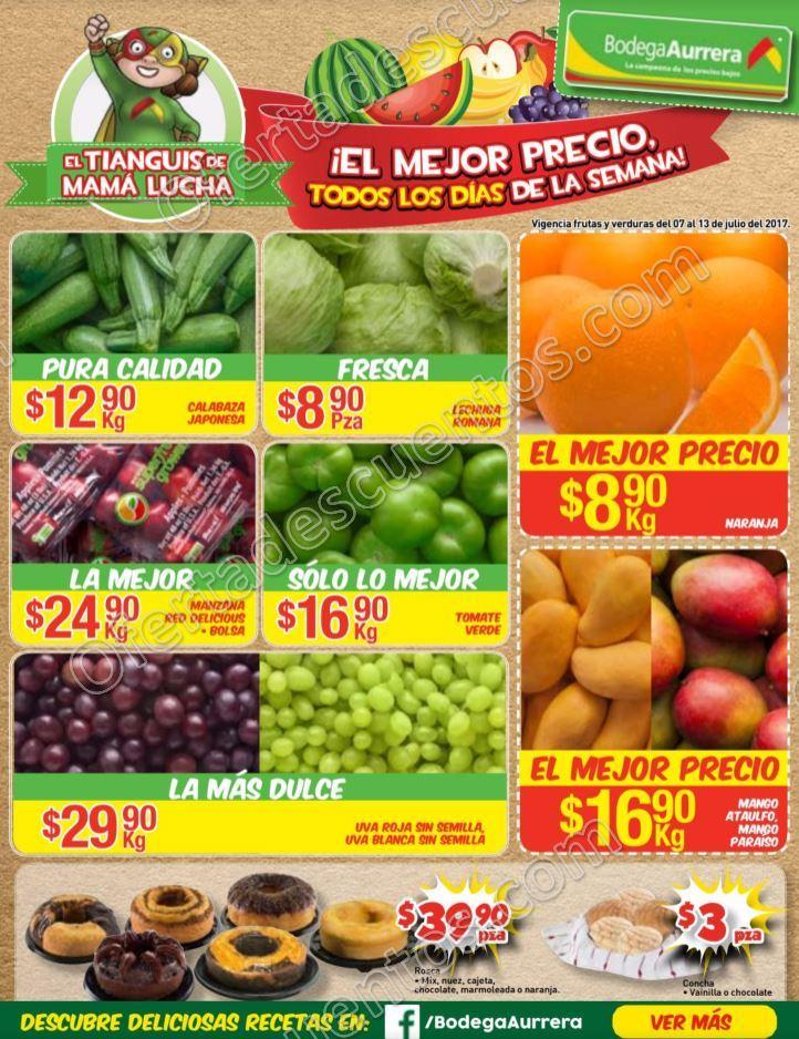 Bodega Aurrerá: Frutas y Verduras Tiánguis de Mamá Lucha del 7 al 13 de Julio 2017