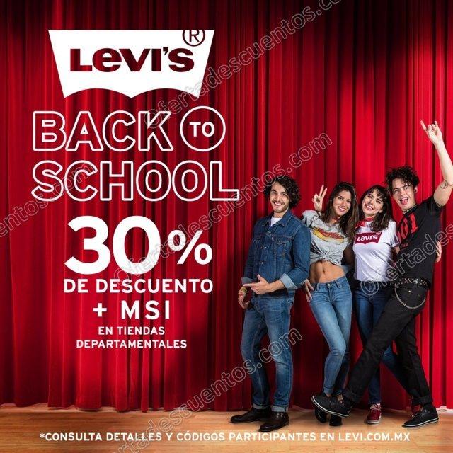 Levi's: Back to School 2017 30% de descuento más meses sin intereses en tiendas departamentales