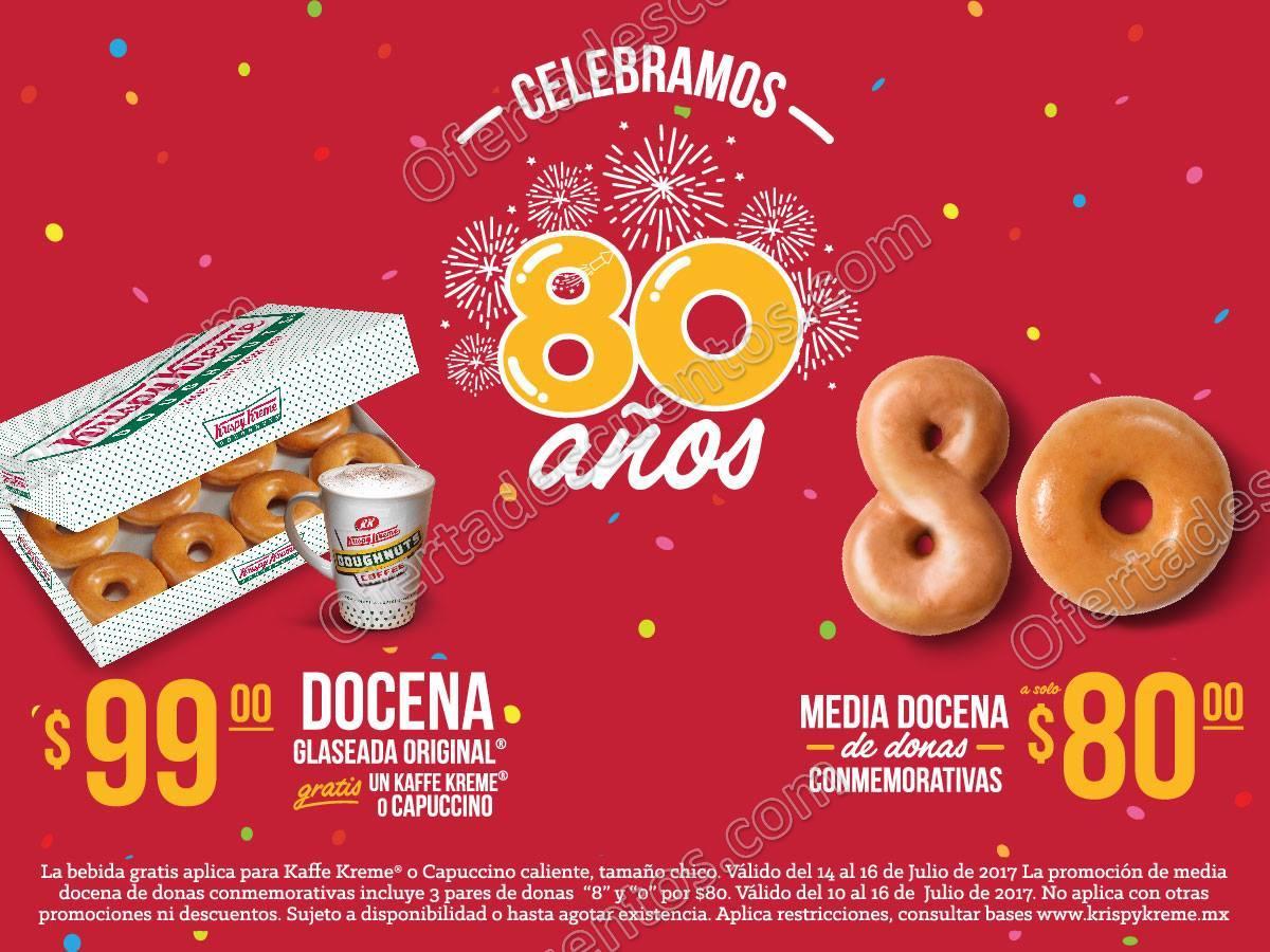 Krispy Kreme: Promociones 80 Aniversario Docena Glaseada Original a $99 más café gratis y más
