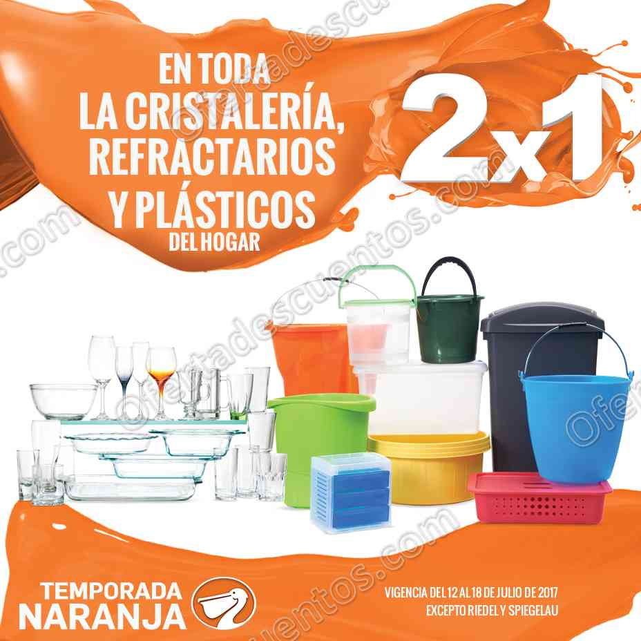 La Comer Temporada Naranja: 2×1 en Cristalería, Refractarios y Plásticos del 12 al 18 de Julio 2017