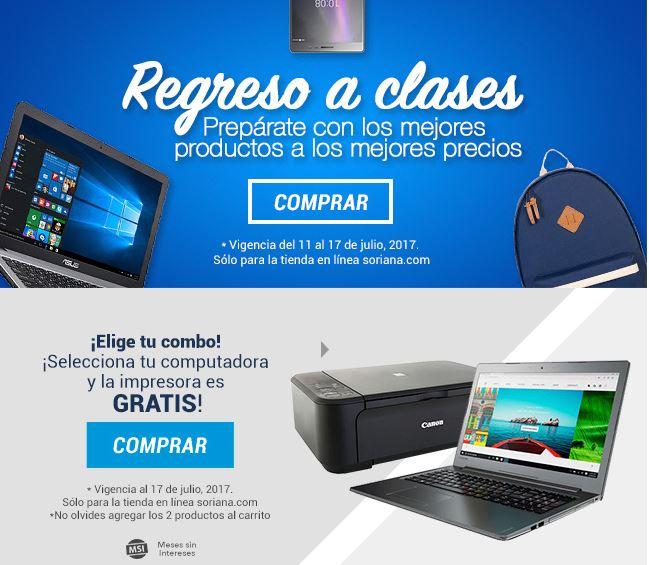 Soriana: Regresa a Clases con Impresora o Bocina gratis en la compra de Computadora o Celular