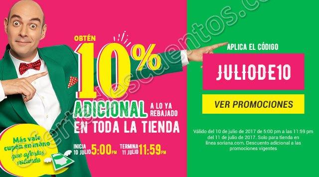 Soriana Online: Promoción Julio Regalado 2017 10% de descuento adicional en toda la Tienda