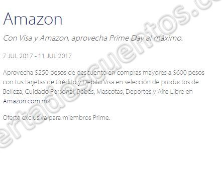 amazon prime day 2017 250 pesos de descuento en compras mayores de 600 con visa. Black Bedroom Furniture Sets. Home Design Ideas