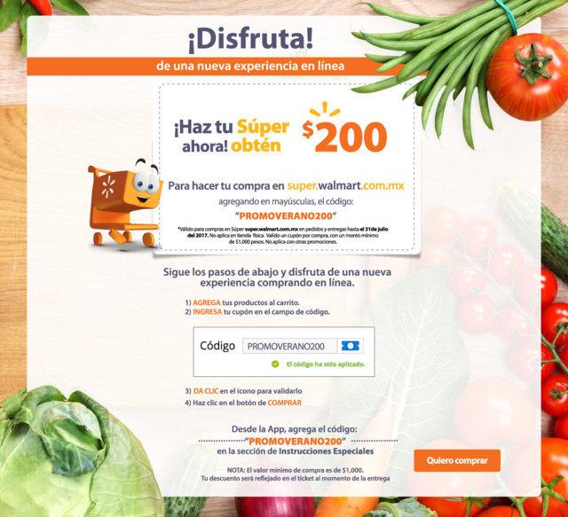 Walmart: Cupón de $200 Pesos Para Super en Linea