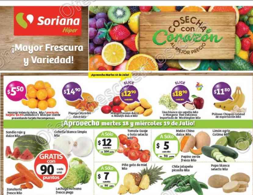 Frutas y Verduras Soriana 18 y 19 de Julio 2017