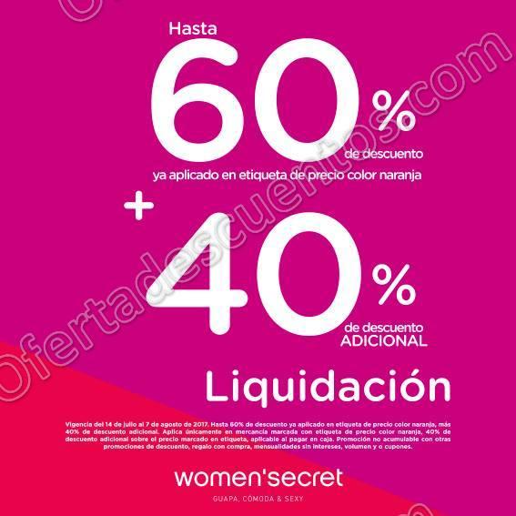 Women'Secret: Hasta 60% de Descuento más Hasta 40% de Descuento Adicional