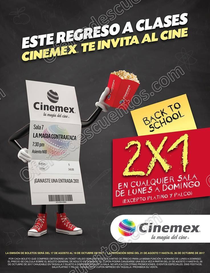 Cinemex: 2×1 en Entradas a cualquier sala de Lunes a Domingo