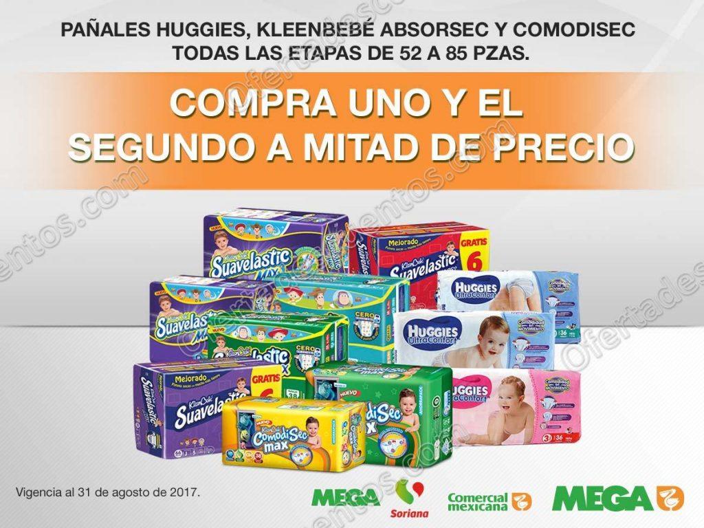 Comercial Mexicana: 50% de descuento en Pañales Huggies, Absorsec y Comodisec en segunda compra