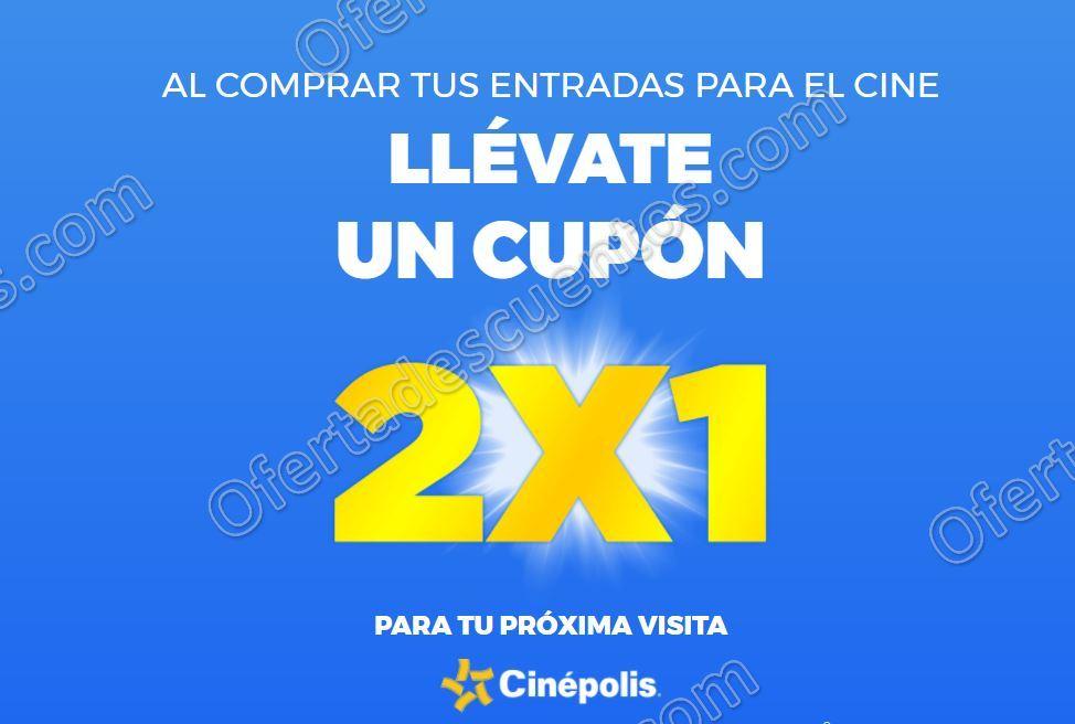 Cinépolis: Gratis Cupón al 2×1 por cada boleto que compres