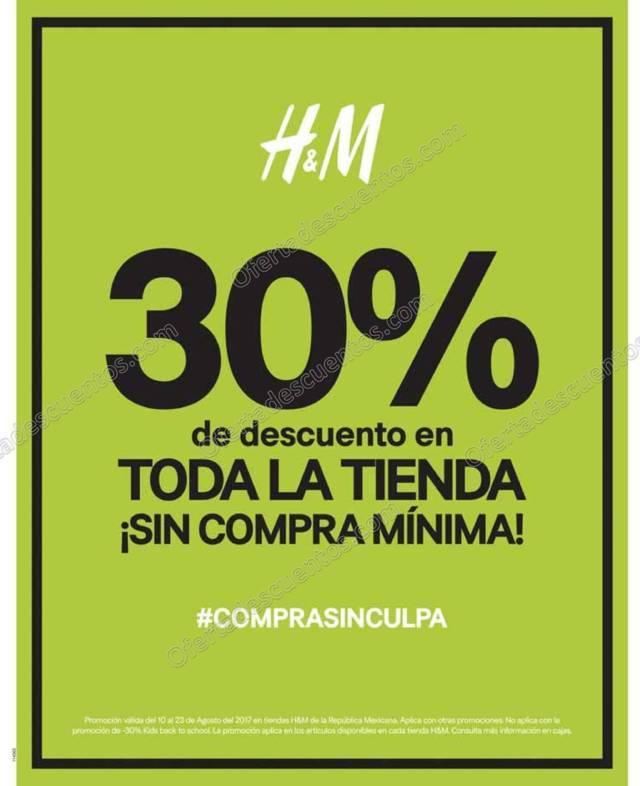 H&M: 30% de descuento en toda la Tienda sin mínimo de compra del 10 al 23 de Agosto