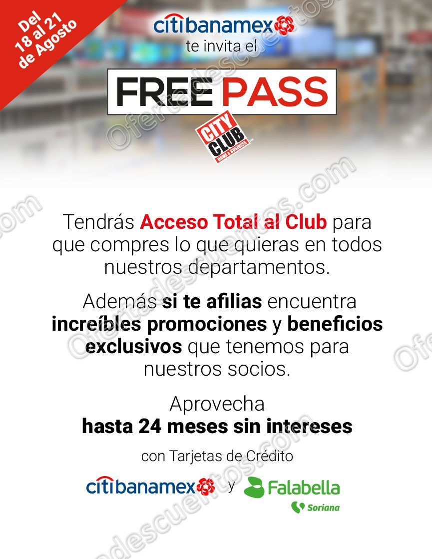Free Pass City Club: Acceso Total al Club sin membresía del 18 al 21 de Agosto 2017