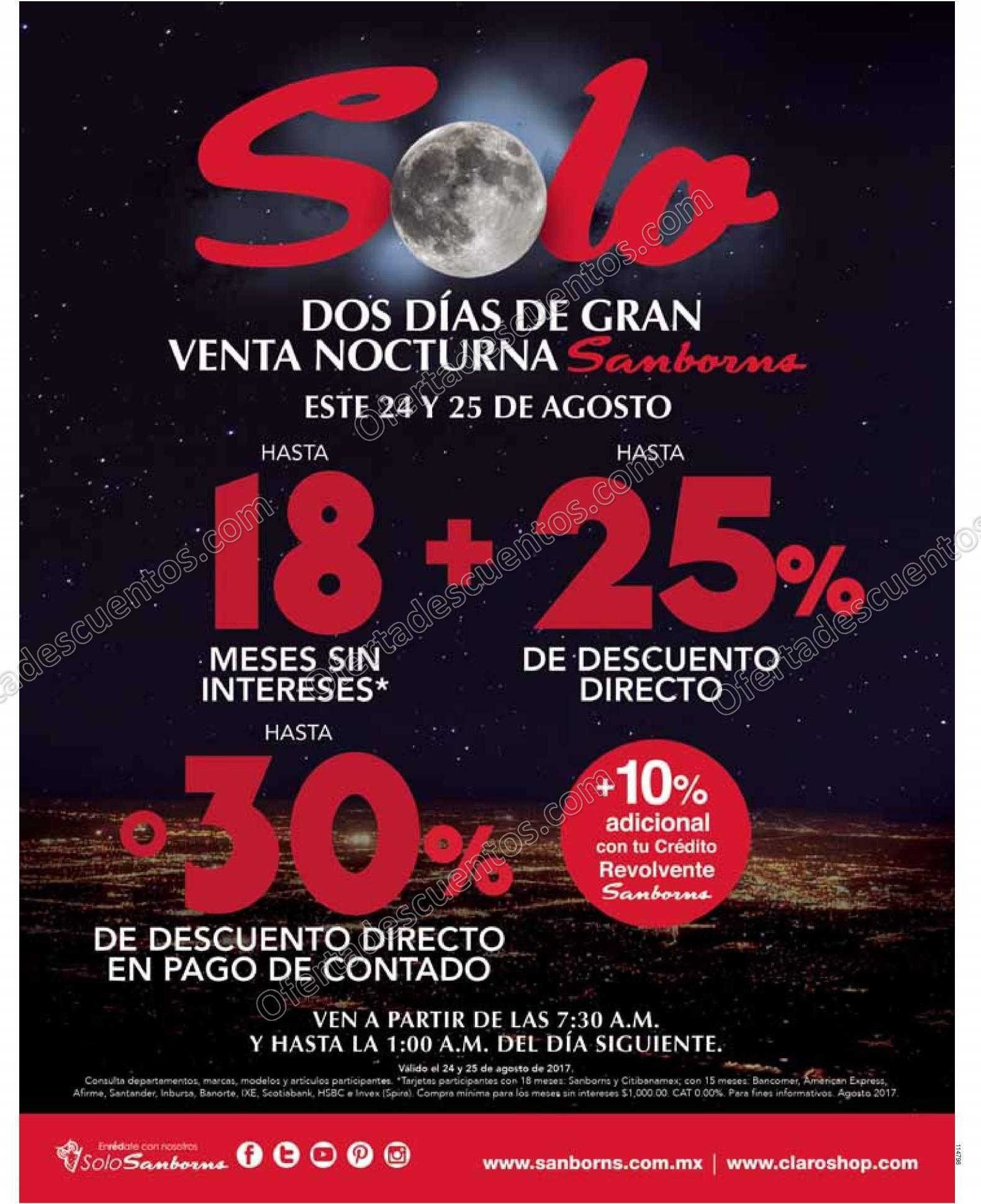 Venta Nocturna Sanborns 24 y 25 de Agosto 2017
