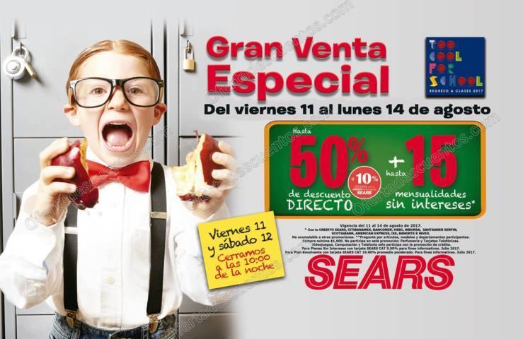 Sears: Gran Venta Especial Regreso a Clases del 11 al 14 de Agosto 2017