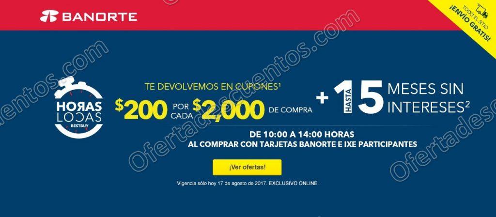 Best Buy: Horas Locas del 10:00 am a 2:00 pm $200 en cupones