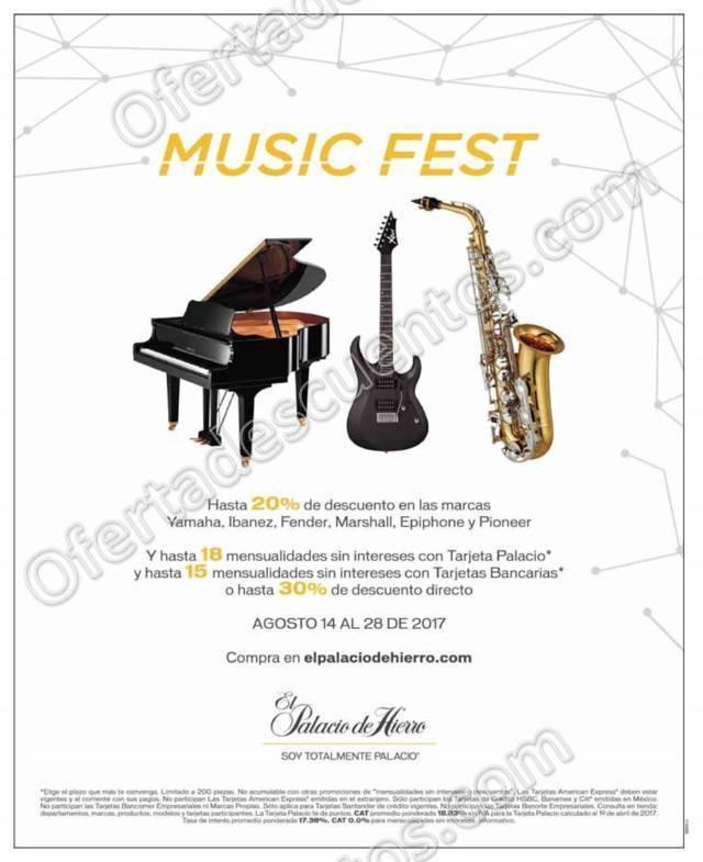 Music Fest Palacio de Hierro: Hasta 30% de descuento en Artículos Musicales al 28 de Agosto