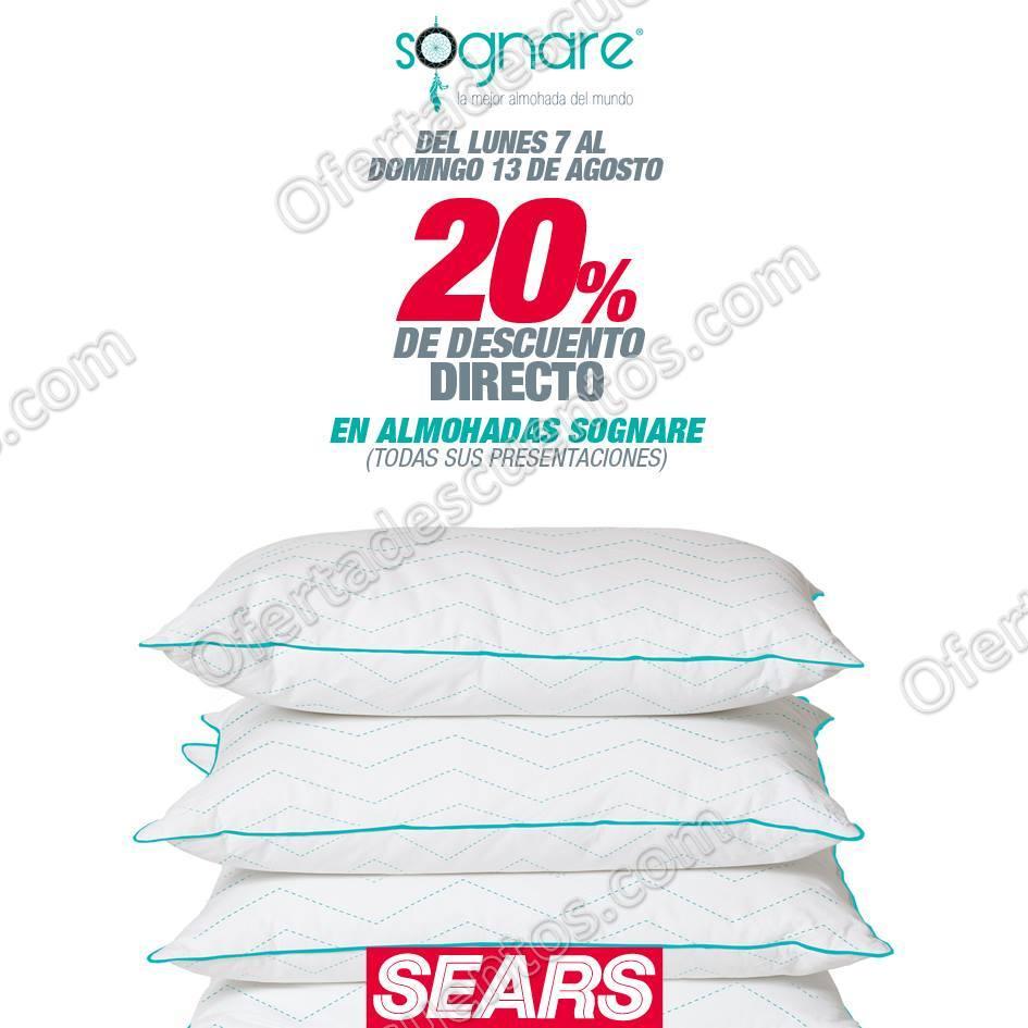 Sears: 20% de descuento en almohadas Sognare del 7 al 13 de Agosto 2017