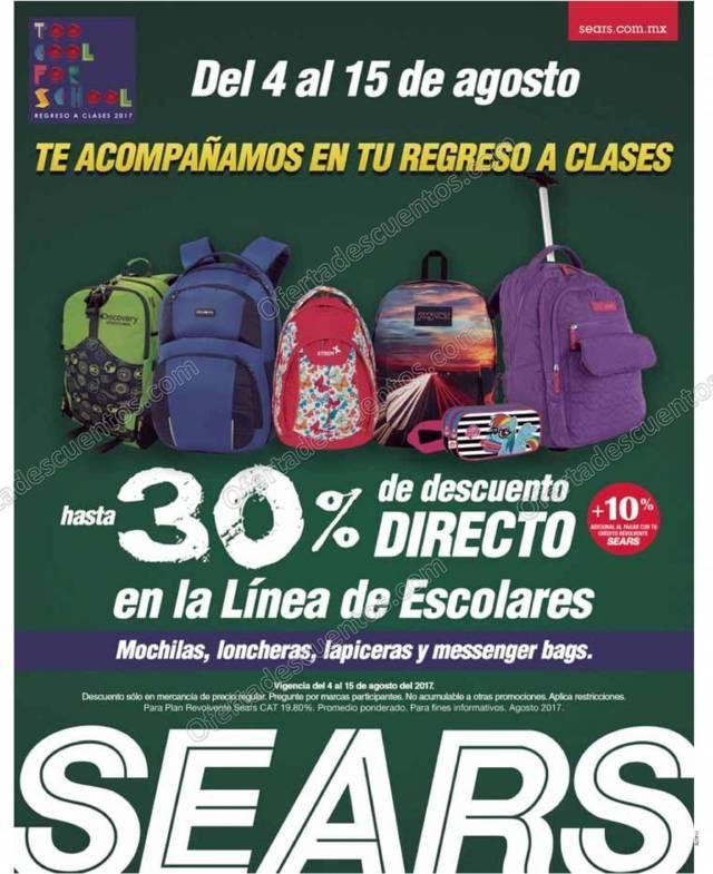 Sears: Promoción Regreso a Clases hasta 30% de descuento en Mochilas, Loncheras y más