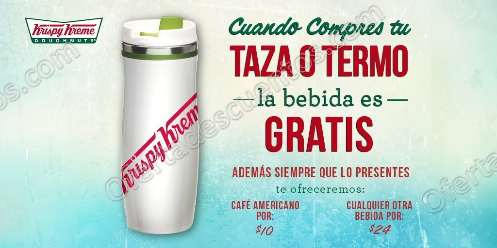 Krispy Kreme: Bebida Gratis al comprar Taza o Termo