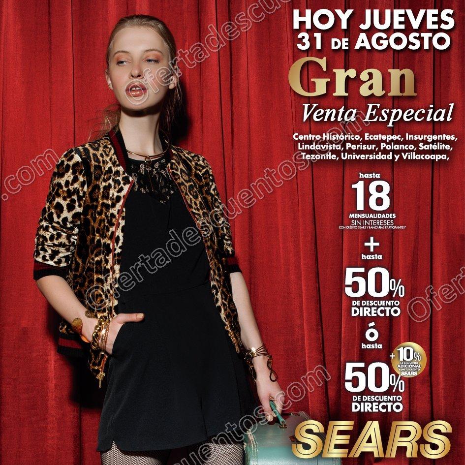 Gran Venta Especial Sears 31 de Agosto 2017 sucursales seleccionadas