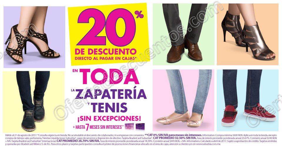 Suburbia: 20% de descuento en Zapatería y Tenis+meses sin intereses al 21 de Agosto 2017