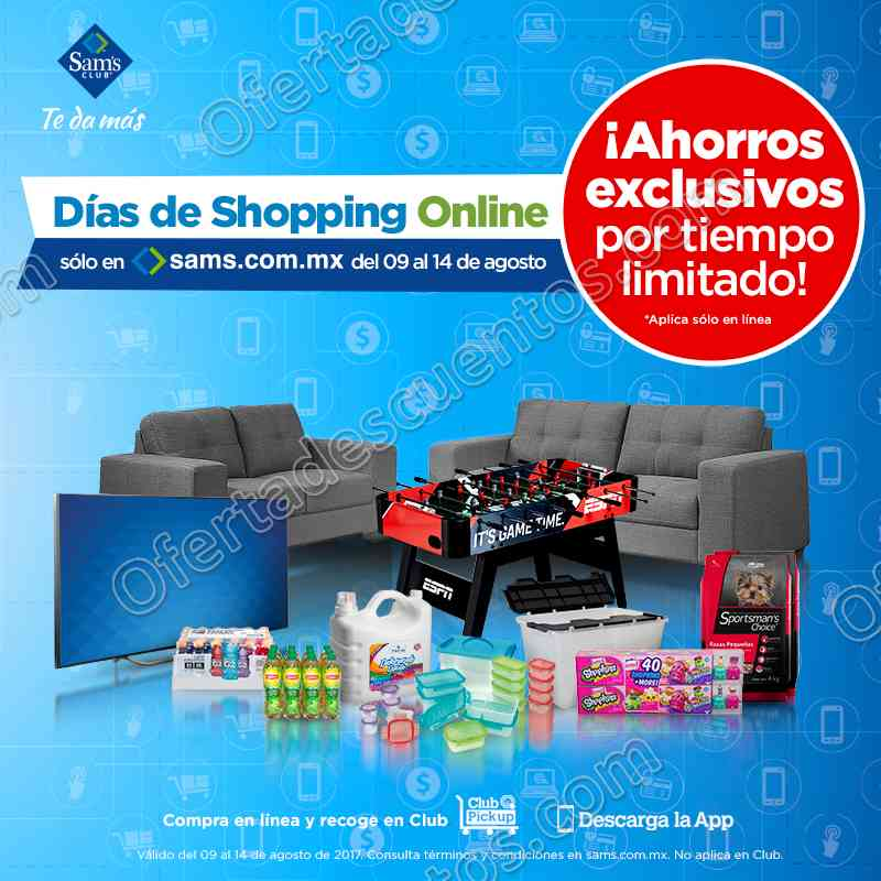 sam 39 s club d as de shopping online del 9 al 14 de agosto 2017. Black Bedroom Furniture Sets. Home Design Ideas