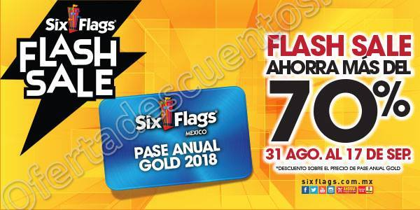 Six Flags: Descuento Pase Anual Gold 2018
