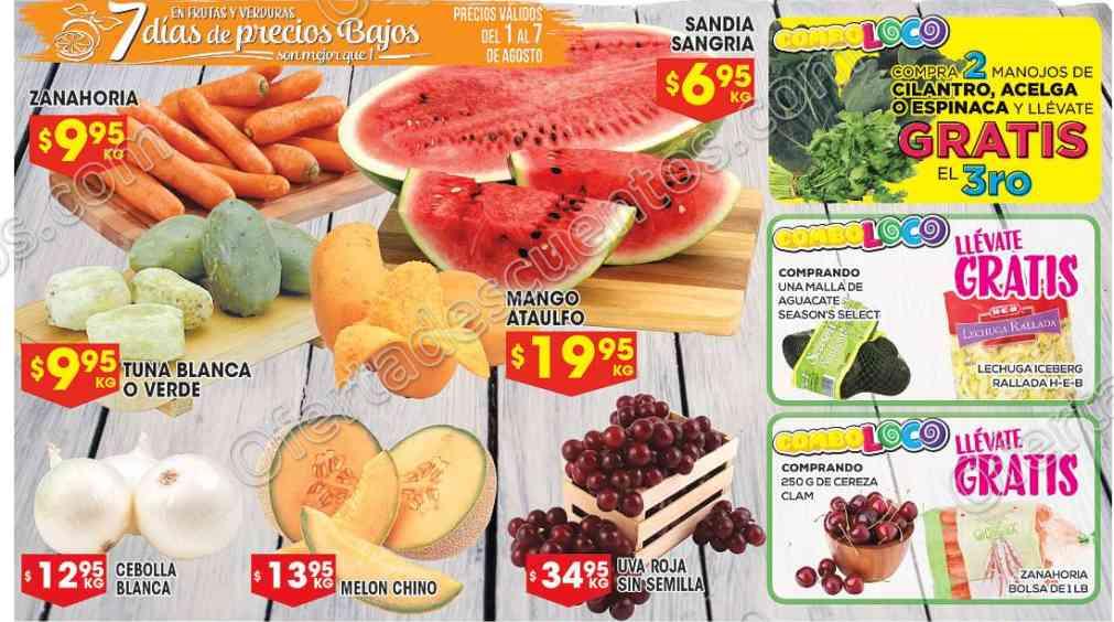 Frutas y Verduras HEB 1 al 7 de Agosto 2017