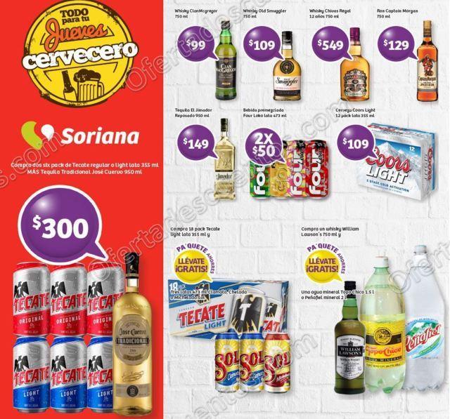 Ofertas Vinos y Licores Jueves Cervecero Soriana 24 de Agosto 2017